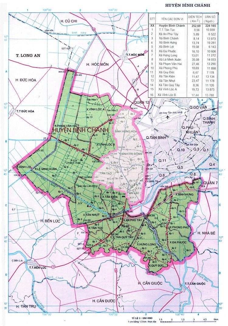 Bản đồ vị trí huyện Bình Chánh