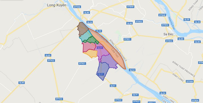 Map of Thot Not district - Can Tho city