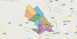 Map of Thu Thua district - Long An