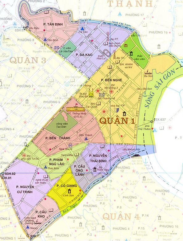 Bản đồ hành chính các phường Quận 1