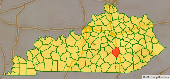 Rockcastle County location map in Kentucky State.