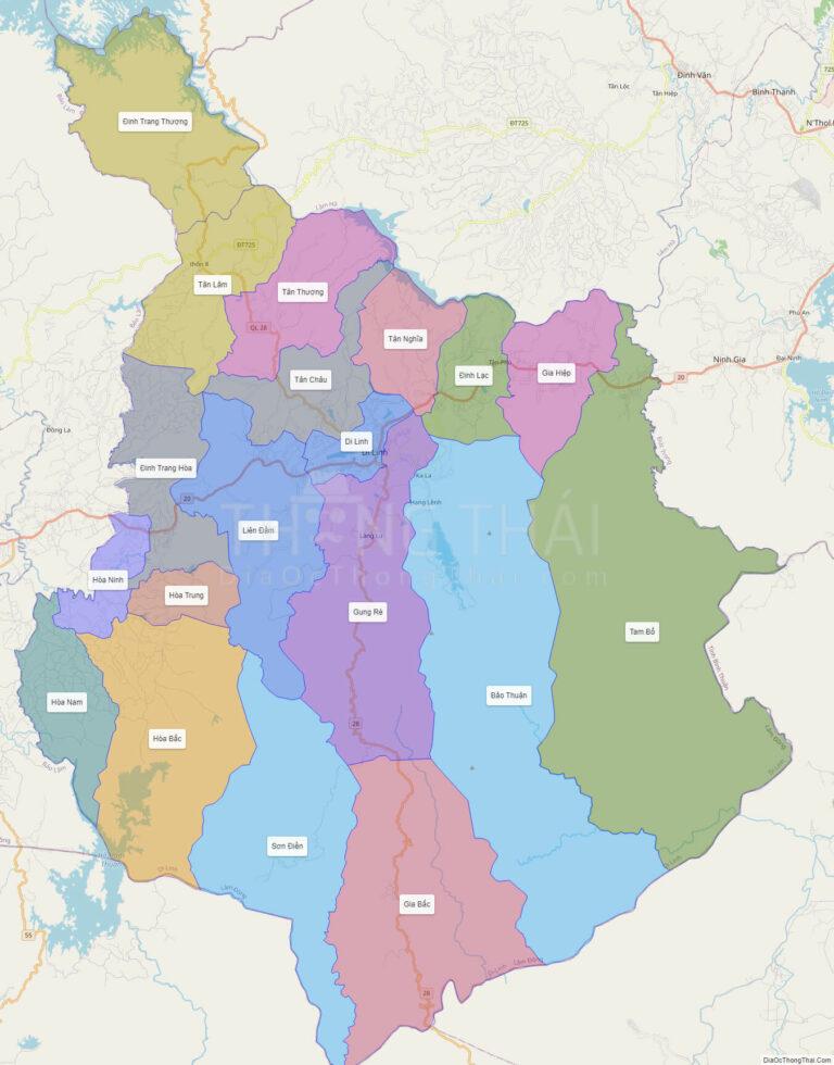 Bản đồ hành chính Huyện Di Linh